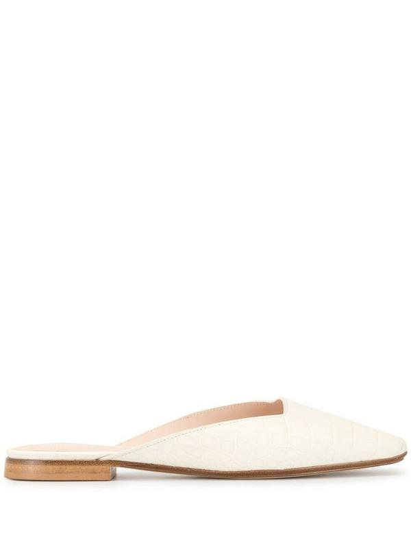 Rodo flat square toe mules in white