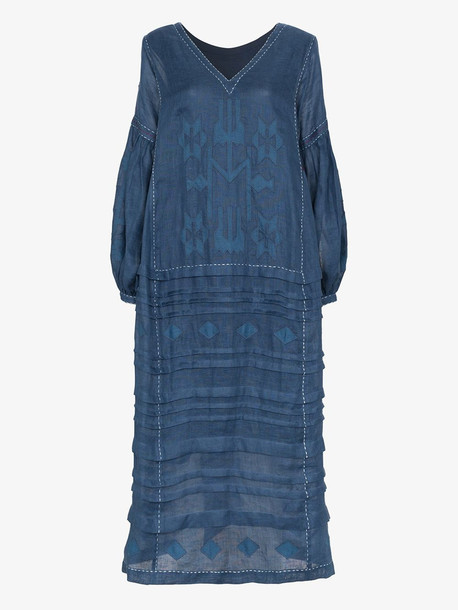 Vita Kin Neptune embroidered midi-dress in blue