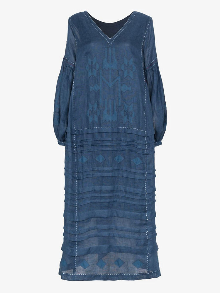 Vita Kin Neptune embroidered midi-dress in blue