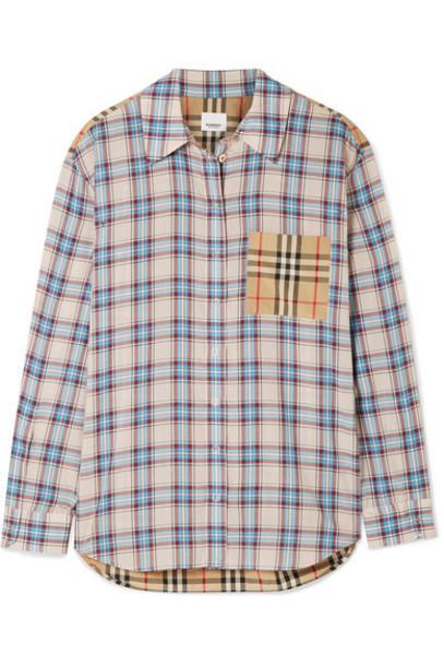 Burberry - Paneled Checked Lyocell And Cotton-poplin Shirt - Ecru