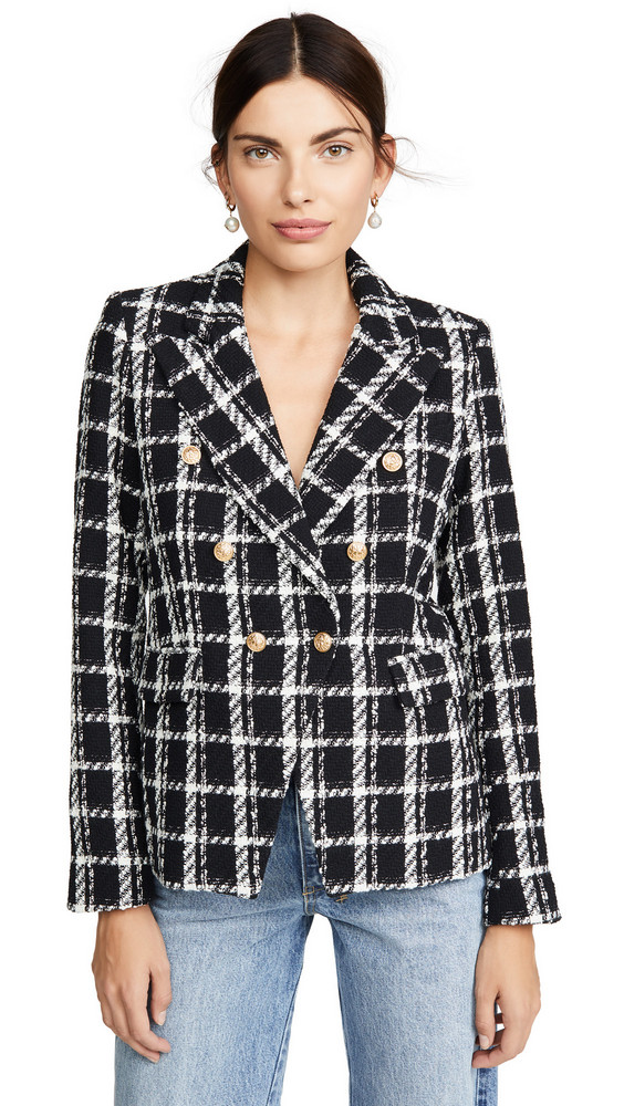 Generation Love Alexa Tweed Blazer in black / white
