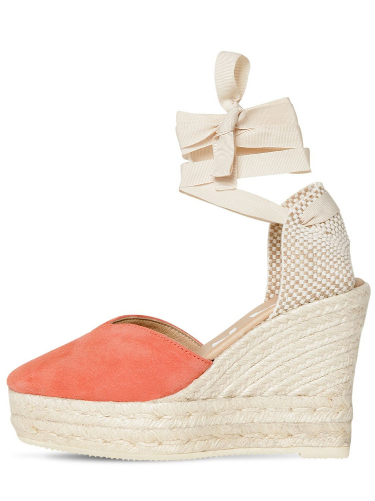 MANEBÌ 100mm Suede Espadrilles in peach