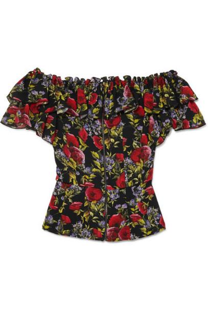 Dolce & Gabbana - Ruffled Floral-print Silk-blend Chiffon Bustier Top - Black