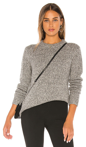 Theory Speckled Tweed Crew Sweater in Gray