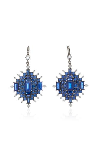 Nam Cho 18K White Gold Sapphire and Diamond Earrings in blue