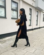 shoes,knee high boots,black boots,patent shoes,prada,midi dress,black dress,brown bag