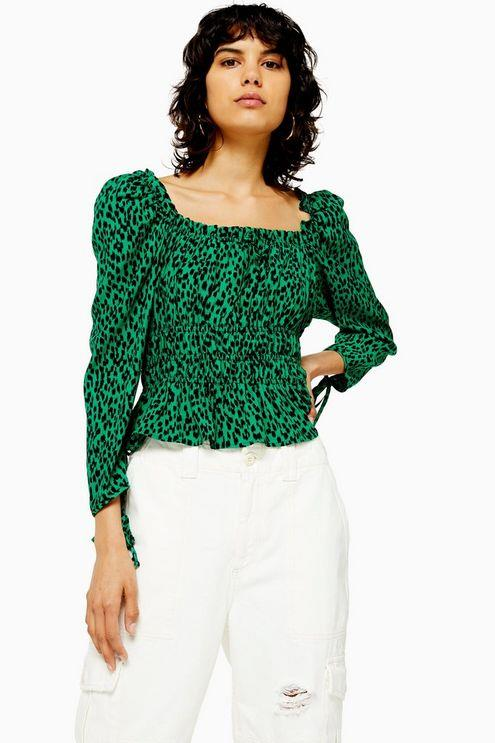 Vancouver Leopard Ruched Prairie Blouse - Green