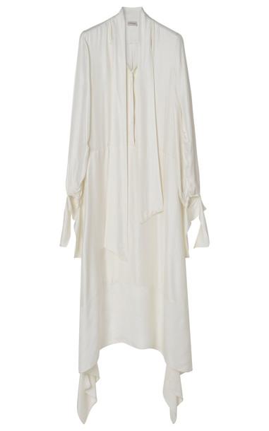 By Malene Birger Niccolo Viscose Herringbone Twill Dress in white