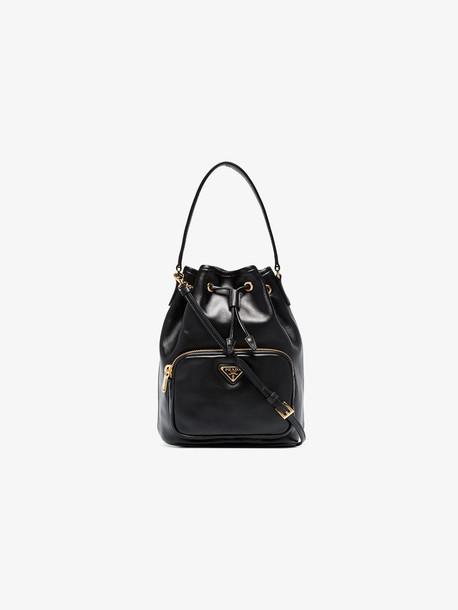 Prada Black Teen leather bucket bag