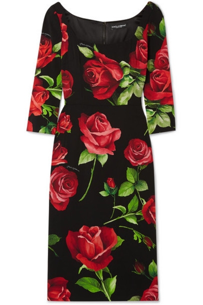 Dolce & Gabbana - Floral-print Silk-blend Chiffon Dress - Black