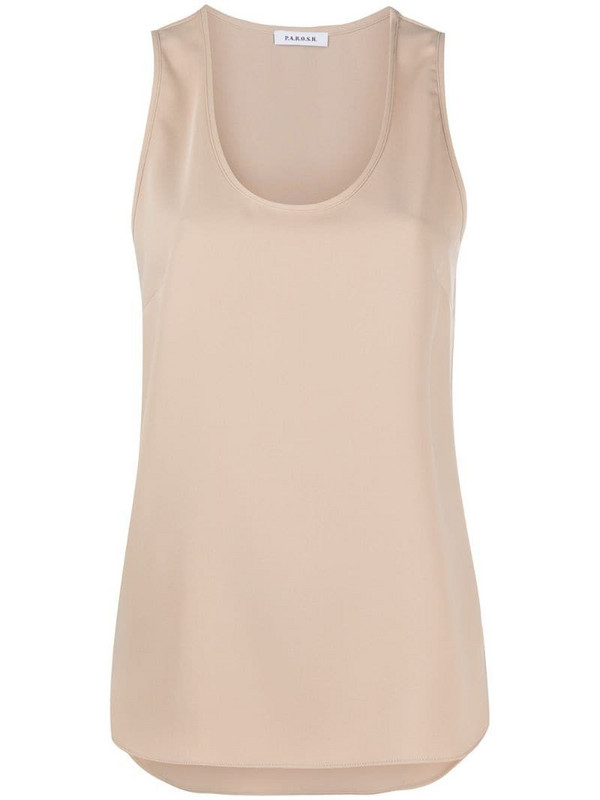 P.A.R.O.S.H. scoop-neck sleeveless top in neutrals