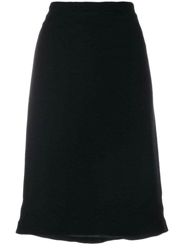 Jil Sander Pre-Owned scallop stitch detail skirt in black