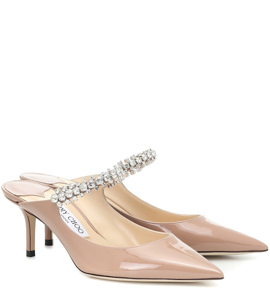 Jimmy Choo Bing 65 patent leather mules in pink