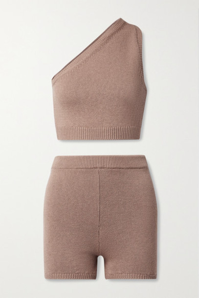 Reformation - Roze One-shoulder Organic Cotton Tank And Shorts Set - Light brown