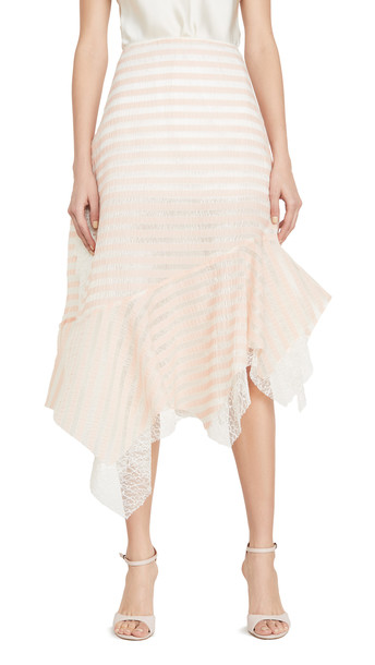 Anais Jourden Sheer Striped Lace Skirt with Side Ruffles in pink / multi