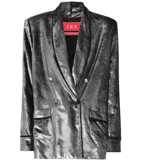 F.R.S For Restless Sleepers Ate II metallic silk-blend blazer in silver