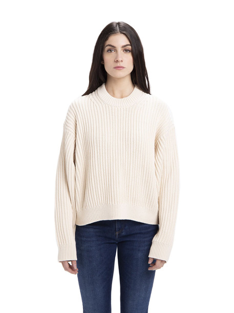Acne Studios Ribbed Knit Sweater in ivory