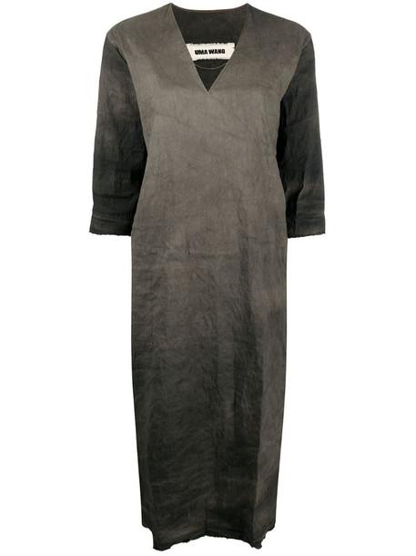 Uma Wang shift V-neck midi dress in grey