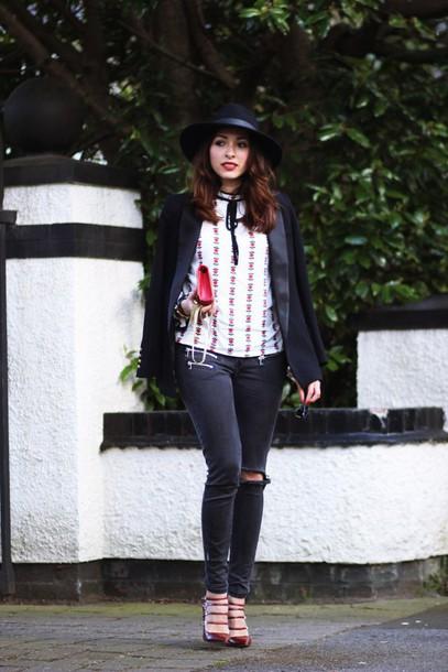preppy fashionist blogger hat blouse jacket jeans shoes bag sunglasses jewels