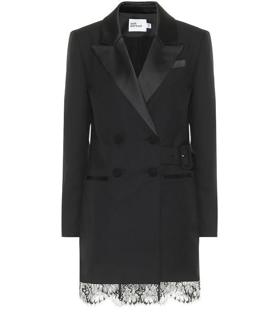 Self-Portrait Lace-trimmed minidress in black