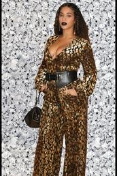 jumpsuit,beyonce,celebrity,pants,top,plunge v neck,belt,instagram,gold,leopard print,animal print