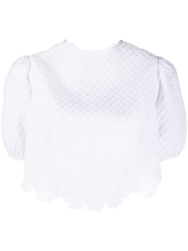 Cecilie Bahnsen cropped open back top in white
