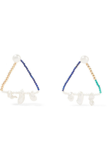 Lucy Folk - Catacombs Gold Multi-stone Earrings - Turquoise