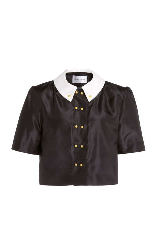 George Keburia Double-Breasted Silk Blouse in black