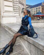 dress,black dress,mini dress,leather,tights,black boots,turtleneck,black bag