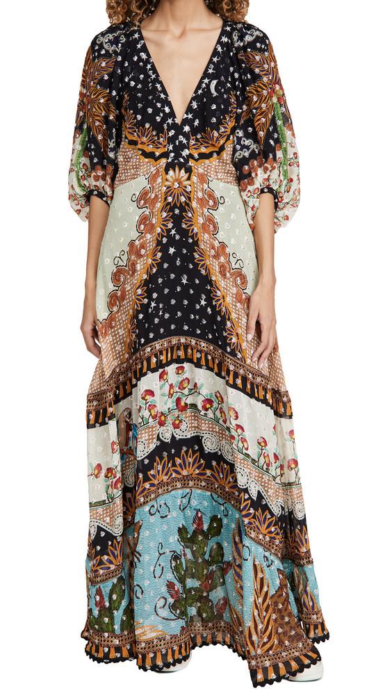 FARM Rio Embroidered Forest Maxi Dress in multi