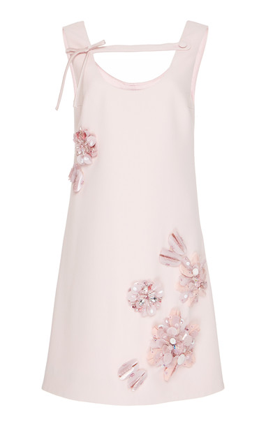 Prada Embroidered Crepe Cady Shift Dress in pink