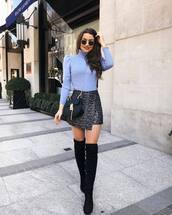 sweater,turtleneck sweater,puffed sleeves,mini skirt,wrap skirt,zaful,high waisted skirt,knee high boots,black bag,black boots