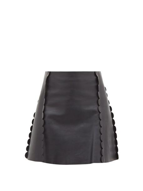 Chloé Chloé - Scalloped-trim Leather Mini Skirt - Womens - Navy