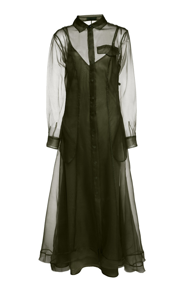Maggie Marilyn Keep It Together Silk-Chiffon Maxi Dress Size: 6 in green