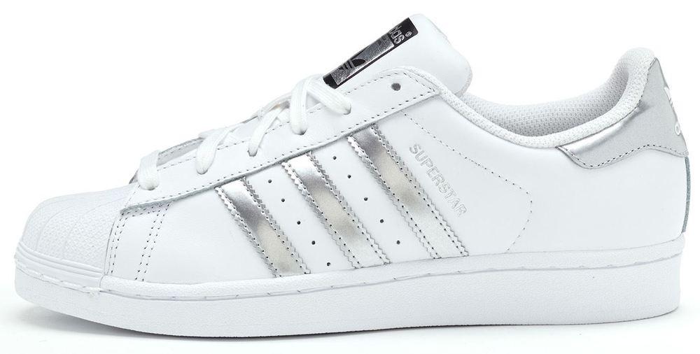 Adidas Originals Superstar Women Trainers in White & Metallic ...