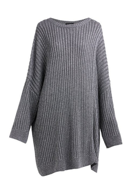 Raf Simons - Cut Out Metallic Ribbed Knit Sweater - Womens - Silver