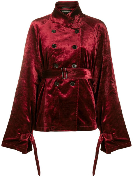 Ann Demeulemeester velvet double breasted blazer in red