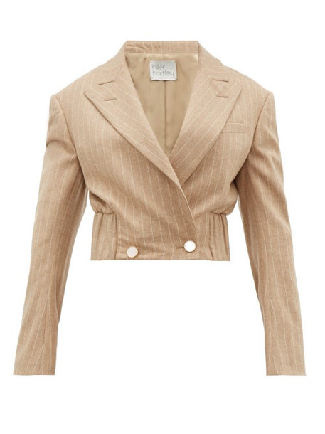 Hillier Bartley - Pinstripe Wool Blend Cropped Jacket - Womens - Beige Multi