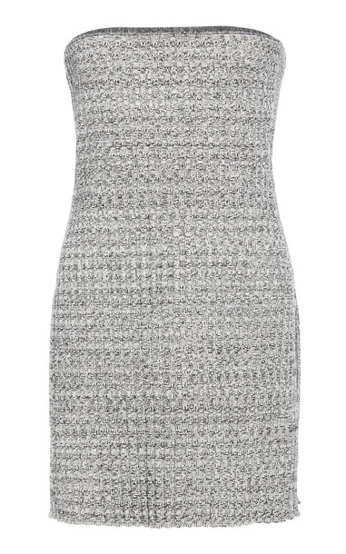 Marina Moscone Strapless Waffle Knit Tunic in black / white