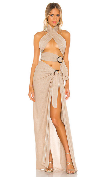 Bronx and Banco X REVOLVE Cleopatra Dress in Metallic Neutral in sand