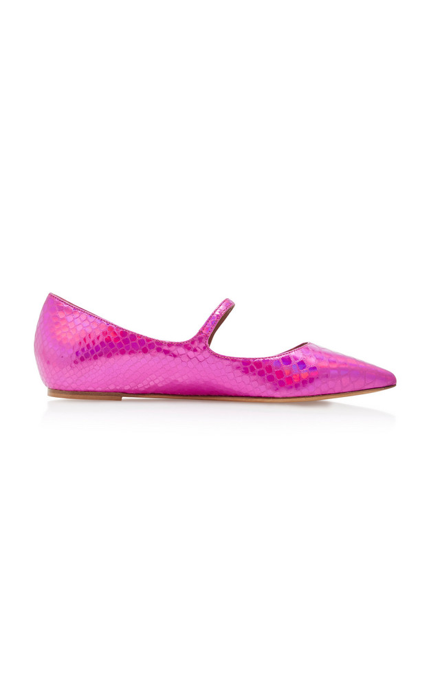 Tabitha Simmons Hermione Iridescent Snake-Effect Leather Flats in pink