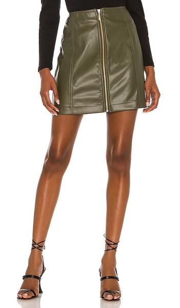 MINKPINK Zahlee Pu Mini Skirt in Olive in khaki