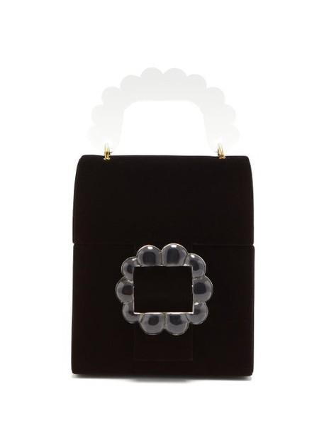 Shrimps - Bingley Floral-beaded Velvet Box Bag - Womens - Black