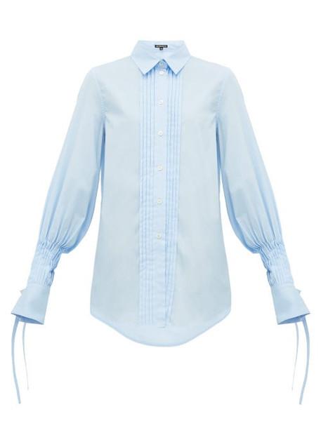 Ann Demeulemeester - Pleated Cotton Poplin Shirt - Womens - Blue