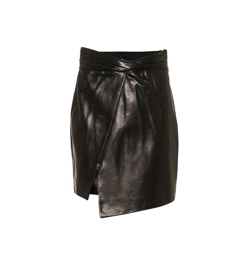 RTA Wrap-front leather miniskirt in black