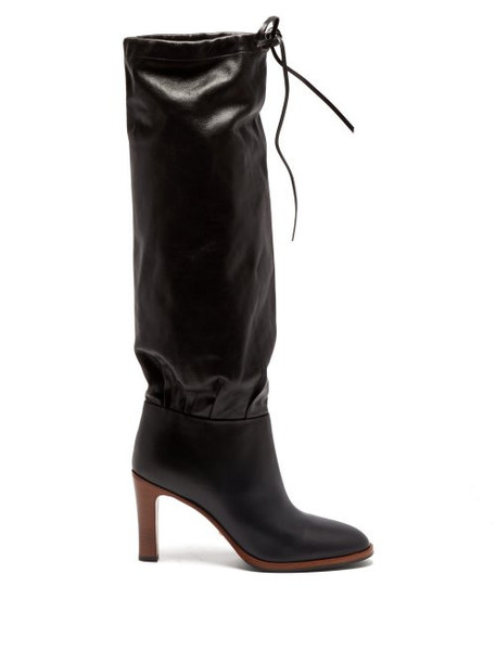 high knee high knee high boots leather black shoes