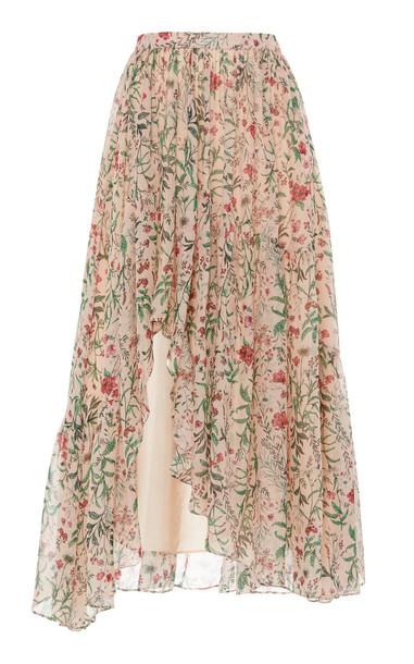 AMUR Genie Floral-Patterned Silk Skirt in print