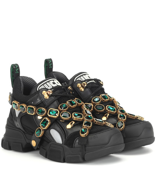 Gucci Flashtrek embellished sneakers in black