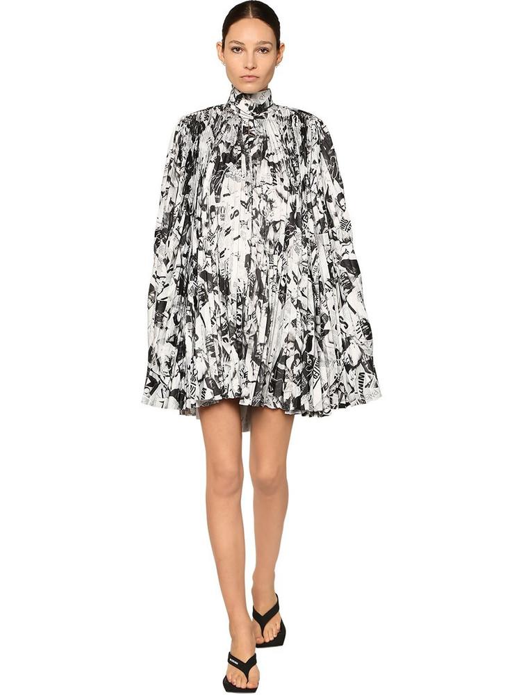 BALENCIAGA Pleated Print Satin Cape Mini Dress in black / white