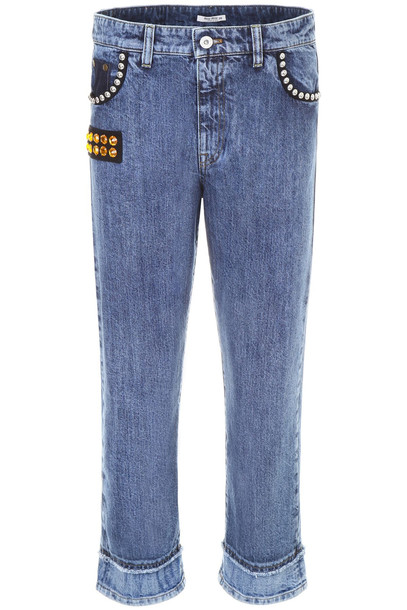 Miu Miu Jeans With Crystals And Studs in blue